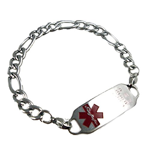 Figaro Style Medical Id Bracelet - Women's Stainless Figaro Medical Alert Bracelet, FREE Custom Engraving