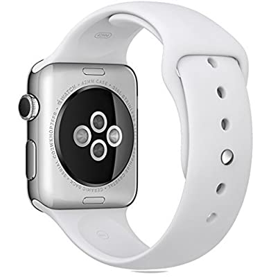 Apple Watch 42mm Stainless Steel Case - White Sports Band