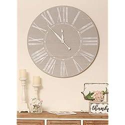 BrandtWorks AZ30GYWHJUP Farmhouse Clock, 30 x 30, Gray/White