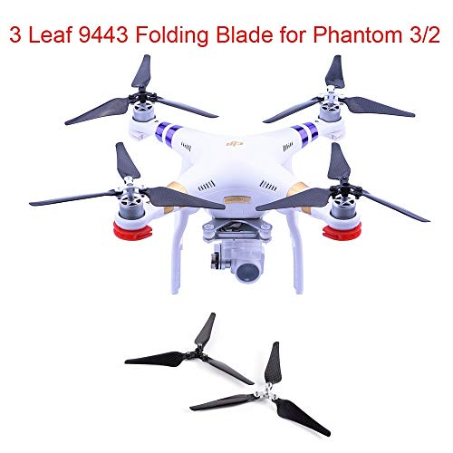 (2PCS 9443 Propeller 3 Blade Self Locking Paddle Clips Carbon Fiber Foldable Folding Blade Props Adapter RC Drone Quadrocopter)