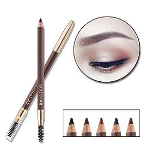 HanZan Eyebrow Pencil Longlasting Waterproof Durable Automaric Liner Eyebrow 5 Colors to Choose (2# Dark Brown)