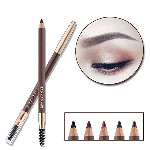 HanZan Eyebrow Pencil Longlasting Waterproof Durable Automaric Liner Eyebrow 5 Colors to Choose (3# Light Brown)