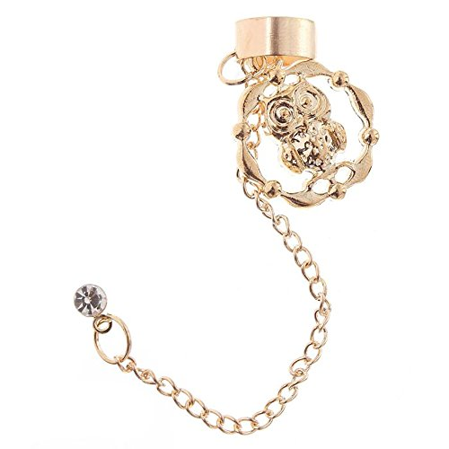 Gold tone Helix Cartilage Woman Cuff Earring with Chain Owl Rhinestone Jewelry (Owl Gold)