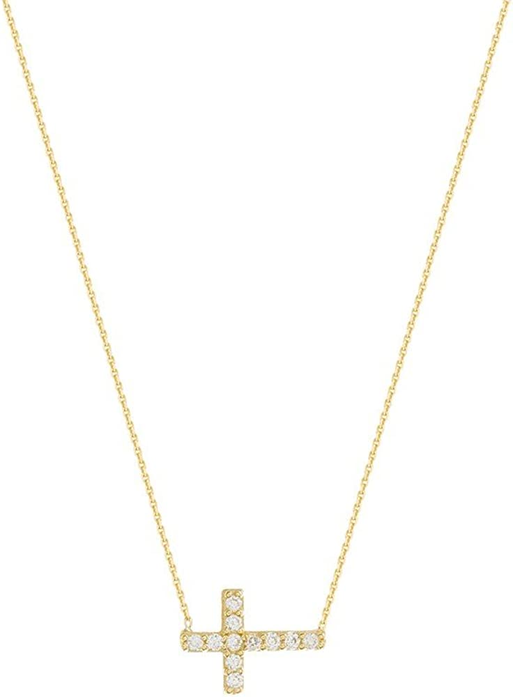 14K CZ Heart with Cross Pendant New Charm Yellow Gold