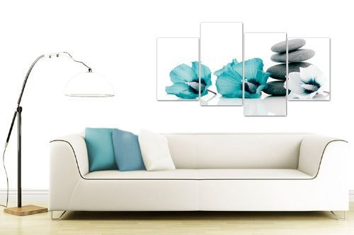Floral Flower Wall Art Picture Teal Grey Black White Canvas Print Split