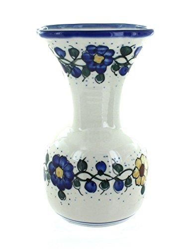 WR Unikat Blue Rose Polish Pottery Geranium Vase