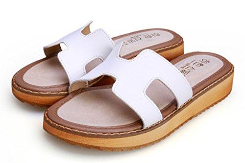 Minetom Damen Sommer Beiläufig Slippers Flache Ferse Plateauschuhe Mode Sandalen Strand Hausschuhe Weiß
