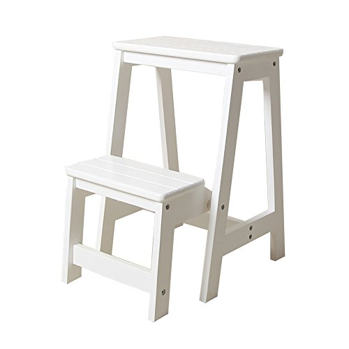 Step Stool Wood Folding Step Stool for Adults & Kids Kitchen Wooden Ladders Small Foot Stools Indoor Folding Stepladder Portable Shoe Bench/Flower Rack (Color : White, Size : 2 ()