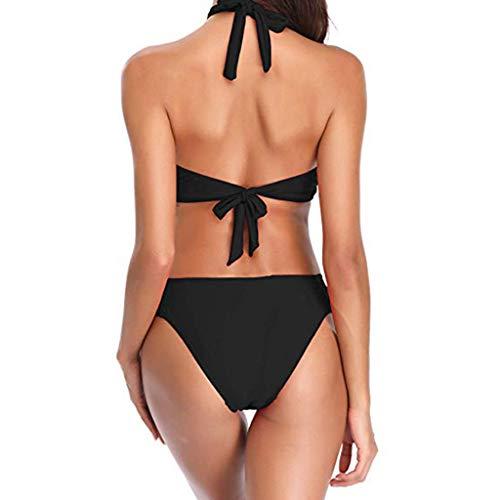 80% AUS YWLINK Damen Bikini Set Mit Kreuz Elegant Crossover Neckholder Triangel Oberteil Push Up Bademode Badeanzug Schwimmanzug Split Zweiteilige Badeanzug Schwarz jbYzo4MX