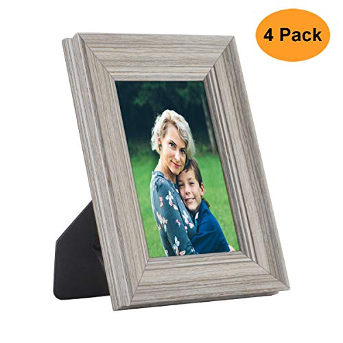 OUSL Picture Frames 8X10, 4 Pack Wood Pattern High Definition Glass Tabletop Wall Photo Frames Collage Set