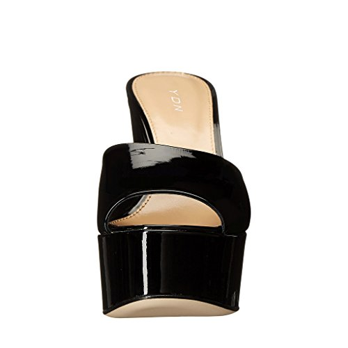 Women Slip on Sandals Clogs Platform Wedge Heels Slide Shoes High Toe Peep YDN Black Mules dHqwgxCd1