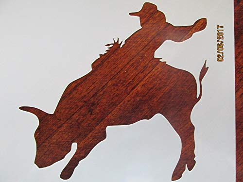 (OutletBestSelling Reusable Sturdy Cowboy Bull Rider Stencil Reusable 10 mil)