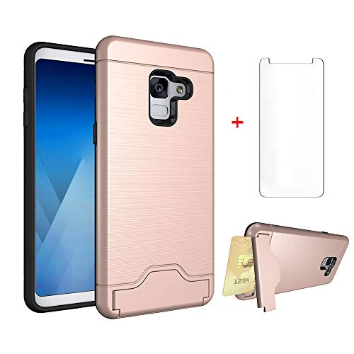 Samsung Galaxy A8 2018 Wallet Phone Case Women Girls Slim Silicone Protective Heavy Duty Hard Cover with Tempered Glass Screen Protector Credit Card Holder Slot Kickstand for Glaxay A 8 Pink Rose Gold