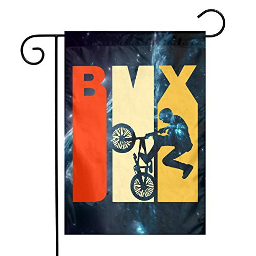 FADFAF3124 Retro 1970s Style BMX Double Sided 12 X 18 Inch Patio Flag Seasonal Spring Summer Outdoor Funny Decorative Flags -