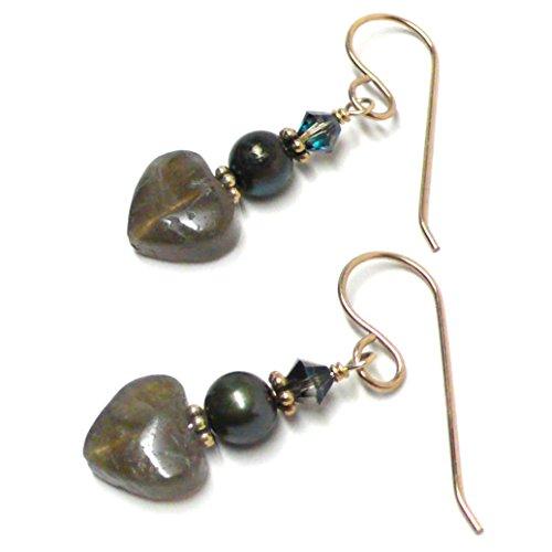 Labradorite 10mm Heart Sterling Silver Gold-Filled Earrings (Heart Labradorite Earrings)