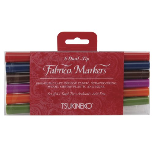 Tuskineko Fabrico Dual-Tip Markers, Landscape, 6-Pack
