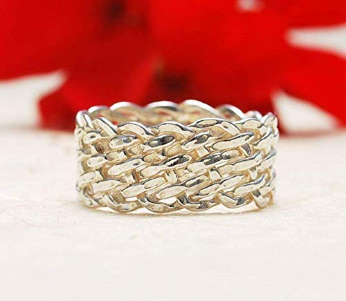 Unique Unusual Original Handmade Basketweave Interwoven Sterling Silver 925 Promise Wedding Everyday Band Ring For Her
