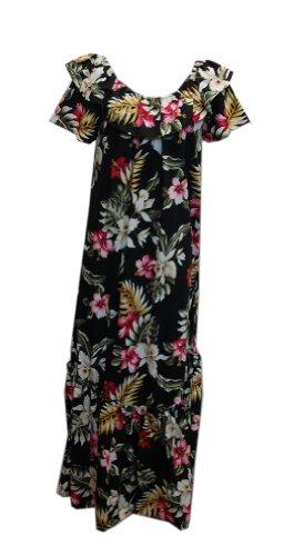Jade Fashions Inc. Women Hawaiian Long Double Ruffle Black Orchid Muumuu-Black-4XL