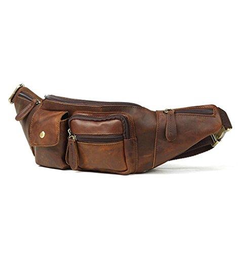 Hombre Bolsos Resistentes Pecho 5x5x12cm y Cuero Mochila Autentico de 18 Sucastle de 1 Pequeña Piel Bandolera Hombro Bolsos Bolsa Bolso 8x7w5