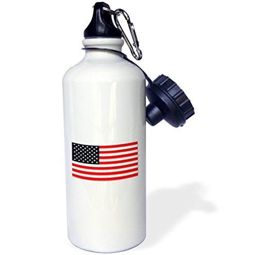 3dRose Uta Naumann Flags of the World - USA American Flag Stars and Stripes-Patriotic United States-White - 21 oz Sports Water Bottle (wb_268981_1) -