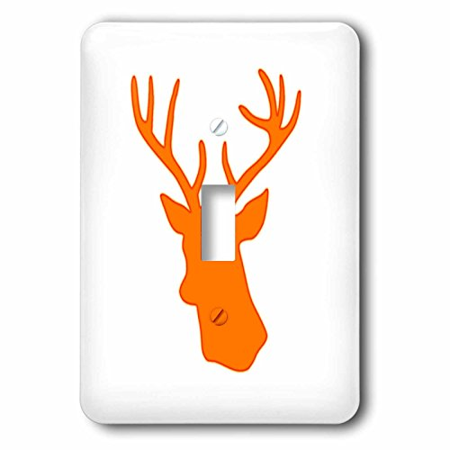 3dRose lsp_179696_1 Orange Deer Head Silhouette On White....