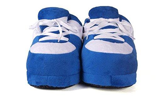 Happy Feet Mens Och Kvinnor Vanliga Gymnastik Tofflor Blått Och Vitt
