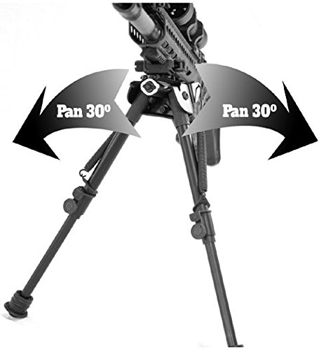 "TipTop® Tactical Rifle Bipod Quicklock EZ Pivot & Pan QD 7"" - 10.5"": Picatinny Mount, Extendable, Folding, with Sling-attached Hole.PN#S9-94676"