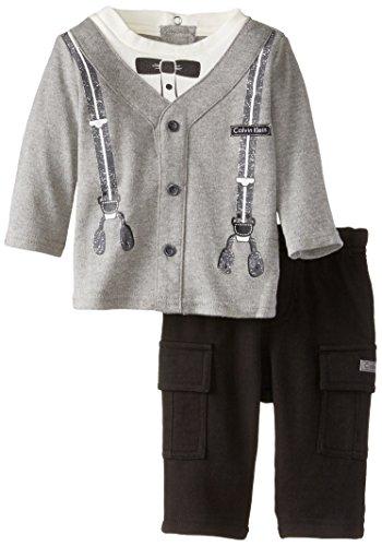 Calvin Klein Baby-Boys Newborn Cardigan With Pants, Gray, 0-3 Months