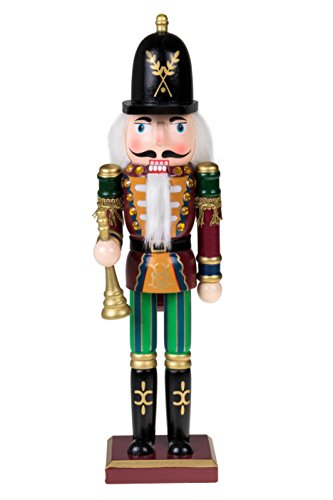 "Traditional Soldier Nutcracker by Clever Creations | With Horn | Collectible Wooden Christmas Nutcracker | Festive Holiday Decor |100% Wood | 12"" Tall"