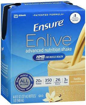 Ensure Enlive Advanced Nutrition Shakes Vanilla, 16 - 8 oz bottles, Pack of 4 by Ensure (Image #1)
