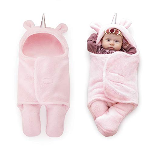 (Upsimples Newborn Baby Girl Blanket Soft Plush Sleepsack Unicorn Baby Swaddle Blanket Baby Girl Clothes Receiving Blankets for Girls 0-6 Months | Unique Baby Shower Gifts for Girls)