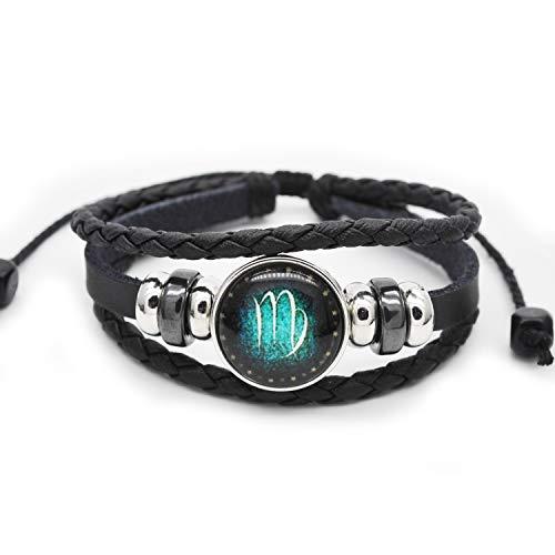 FRD.2Y Genuine Leather Bracelet for Women & Men,Unisex Multilayer Leather Adjustable Bracelet Cuff Wrap Multicolor Rope Wristband (Virgo)