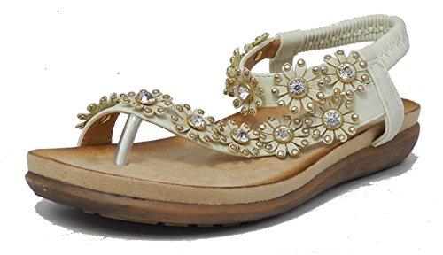 Boulevard - Zapatos con correa de tobillo mujer crema