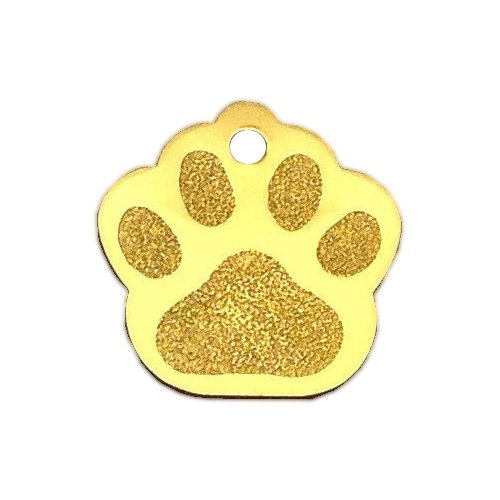 Large Paw Print Pet ID Tag Custom Diamond Engraved Dog Cat Personalized Aluminum (Gold)
