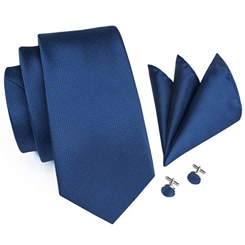 Hi-Tie Mens Blue Solid Tie Necktie Cufflinks and Pocket Square Tie Set ()