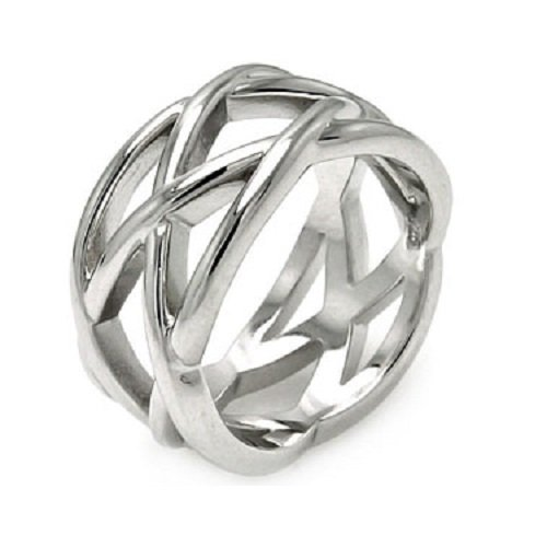 Row Criss Cross - Amythyst Unisex, Men's and Women's Silver Tone Stainless Steel Double Row Criss Cross X's Band / Ring Size 9