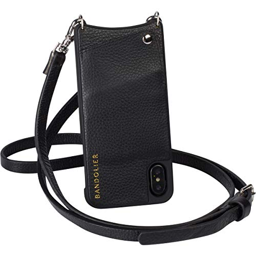 Bandolier [Emma] Crossbody Phone Case and Wallet - Compatible with iPhone 8 Plus, 7 Plus, 6 Plus, 6s Plus - Black Pebble Leather with Silver Detail
