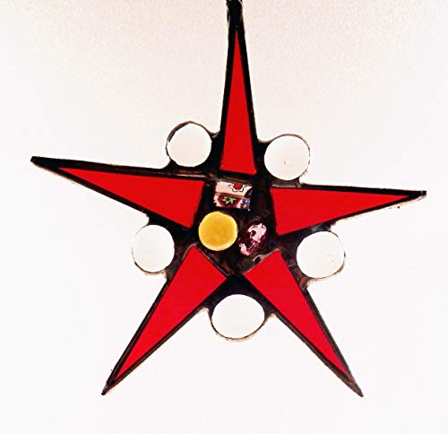 (Red, blue, gold,orange red, dusty pink, purple, green, clear, garnet or multi colored Star, stained glass star, Holiday Gift with vintage jewels)
