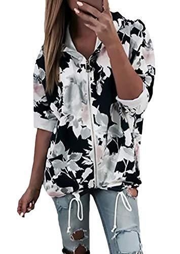 Ensachées Printemps Veste Femmes Poches À À Loisirs Fleur Manches Élégant Vestes Manteau Zipper Automne Noir Fille Capuche Imprimé Longues Sweat Mode 7TF0nAg