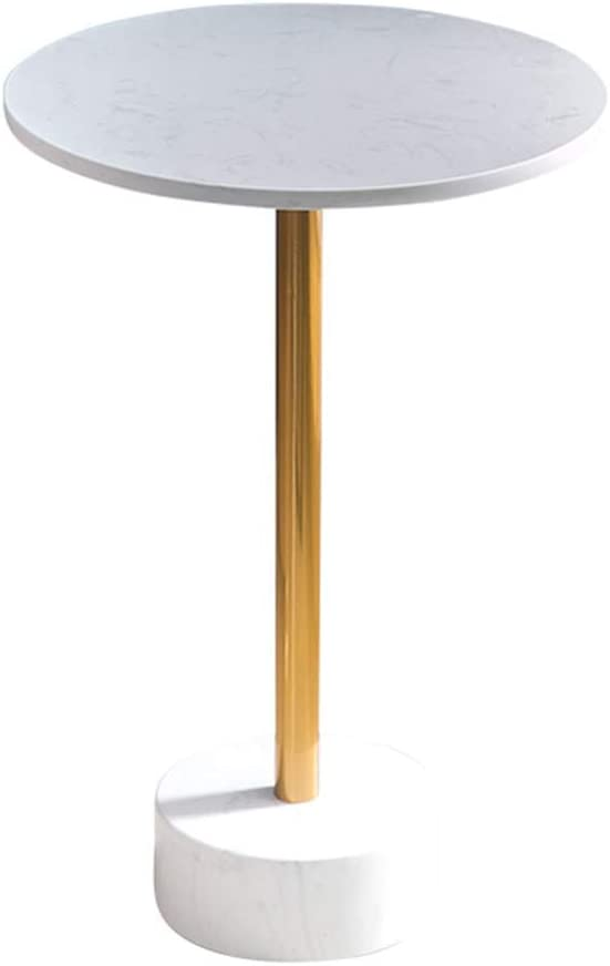 HLL Tables,Home Furniture Gold Marble Side Table Round Coffee Table Nightstand Simple Laptop Desk for Living Room Balcony
