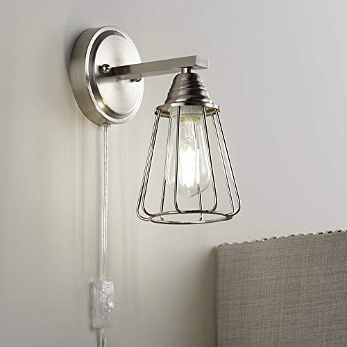 Adelaide Brushed Nickel Cage Pin-Up Wall Lamp - 360 Lighting -