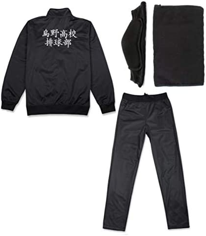 Haikyuu Cosplay Costume Jacket Pants Uniform Karasuno Team Windbreaker Lightweight Front Zipper Knee Pads Set