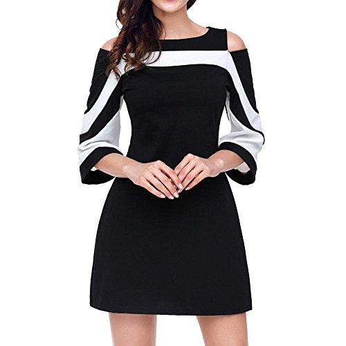 ess, ღ Ninasill ღ Ladies Bodycon Casual Evening Party Mini Skirt Blouse Tops Tank (M, Black) ()