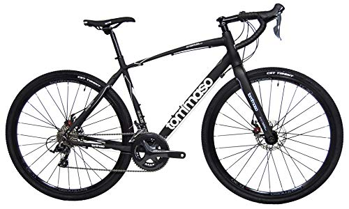 Tommaso Avventura Shimano Sora Gravel Adventure Bike with Disc Brakes, Extra Wide Tires, and Carbon Fork Perfect for Road Or Dirt Trail Touring, Matte Black - Small