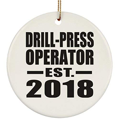 Enid545Anne Drill-Press Operator Established EST. 2019 Circle Ornament, Christmas Tree Decor, Best Gift for Birthday, Anniversary, Easter, Valentine's Mother's Father's Day