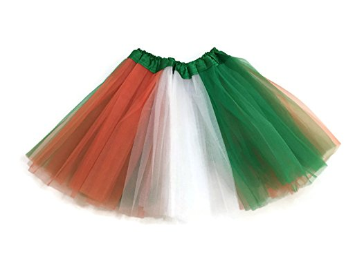 Rush Dance Colorful Ballerina Girls Dress-Up Princess Costume Recital Tutu (Kids 3-8 Years, Kelly Green/Orange/White (St Patrick's Day))