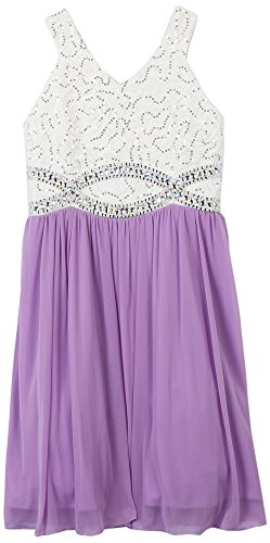 Speechless Girls' Big Sequin Lace V Neck Jeweled Waist Dress, White/Lavender, 16 ()