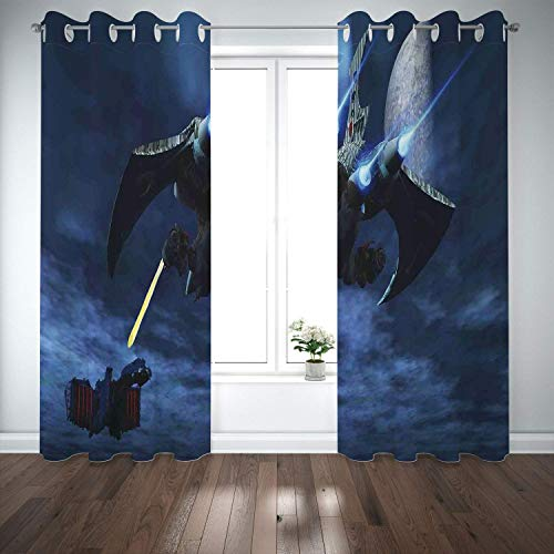 Price comparison product image Yaoni Thermal Insulated Grommet Blackout Curtains, Galaxy, A Lighter Spaceship Blasts a Laser Beam an Enemy Battleship Galaxy Wars Pattern, Blue Black, 2 Panel Drapes, Bedroom, The Sitting Room