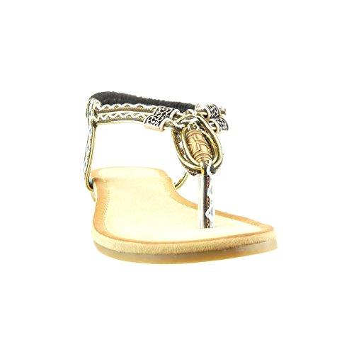 Angkorly - Chaussure Mode Sandale salomés femme tréssé brodé Talon bloc 1.5 CM - Noir