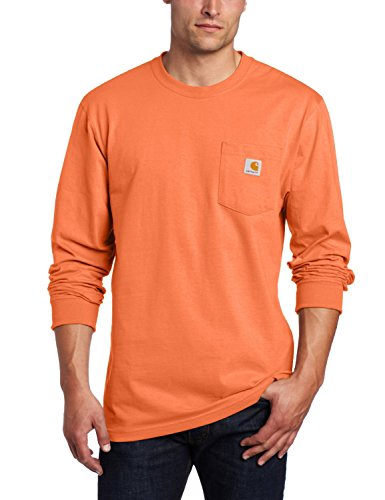 (Carhartt Men's Workwear Pocket Long Sleeve T-Shirt Midweight Jersey Original Fit K126,Orange,Large )